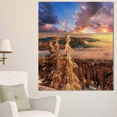 Designart Beautiful Jungle With Fog At Sunset Oversized Landscape Canvas Art - 3 Panels