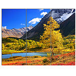 Designart Beautiful Kamchatka Mountains LandscapeCanvas Wall Art - 3 Panels