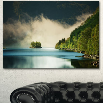 Designart Beautiful Lake By Green Mountains ExtraLarge Landscape Canvas Art - 3 Panels