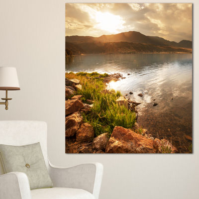 Designart Beautiful Lake With Rocky Shore Oversized Landscape Canvas Art - 3 Panels