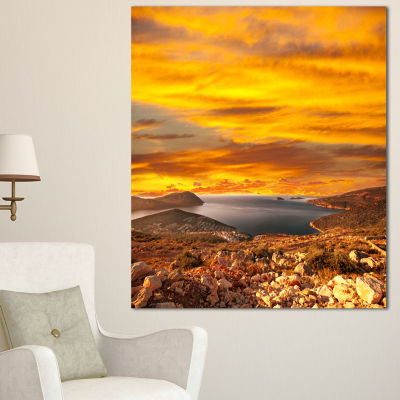 Designart Beautiful Landscape Under Yellow Sky Landscape Canvas Art Print - 3 Panels