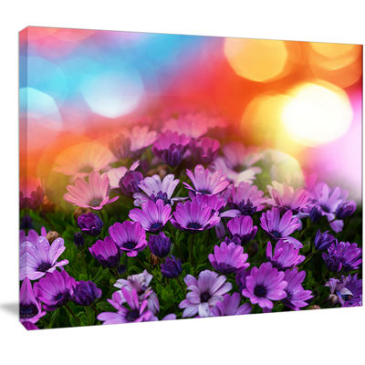 Designart Beautiful Little Purple Flowers Floral Canvas Art Print