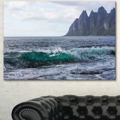 Designart Beautiful Lofoten Island Norway Large Seashore Canvas Print - 3 Panels