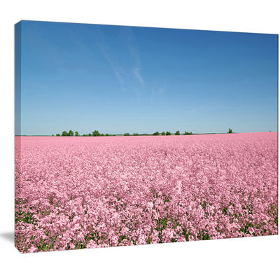 Designart Beautiful Meadow Under Blue Sky Floral Canvas Art Print