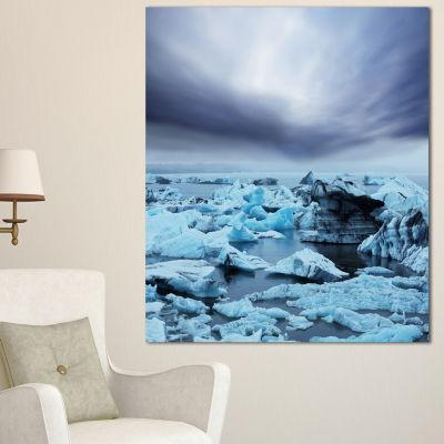 Designart Beautiful Melting Glacier In Iceland Oversized Landscape Canvas Art - 3 Panels
