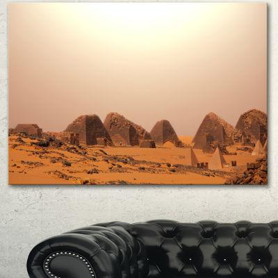 Designart Beautiful Meroe Pyramids In Sudan ExtraLarge Landscape Canvas Art - 3 Panels