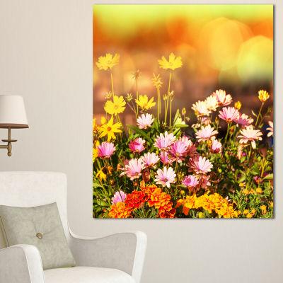 Designart Beautiful Multi Color Flowers Floral Canvas Art Print - 3 Panels