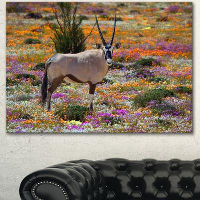 Designart Beautiful Oryx In Flower Field AfricanWall Art Print - 3 Panels