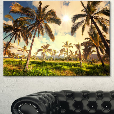 Designart Beautiful Palm Plantation In Hawaii African Landscape Canvas Art Print - 3 Panels