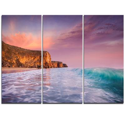 Designart Beautiful Paradise Sunset Extra Large Seascape Art Triptych Canvas