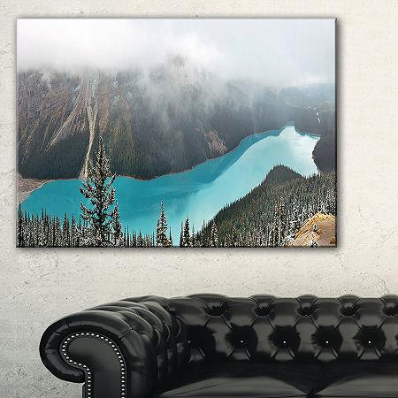 Designart Beautiful Petyo Lake Panorama LandscapeArtwork Canvas, One Size , Blue