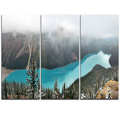 Designart Beautiful Petyo Lake Panorama LandscapeArtwork Triptych Canvas