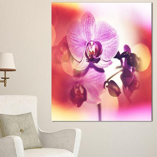 Designart Beautiful Pink Orchid Flowers Large Flower Canvas Wall Art - 3 Panels