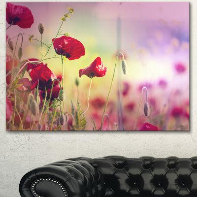 Designart Beautiful Poppy Flower Garden Floral Canvas Art Print - 3 Panels