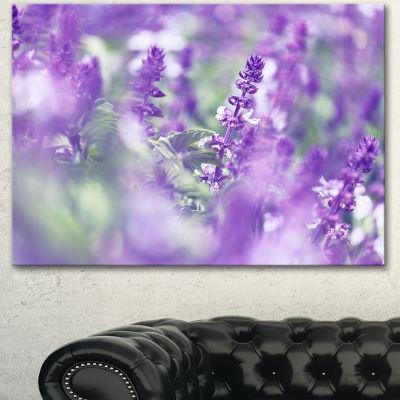 Designart Beautiful Purple Mint Flowers Large Flower Canvas Wall Art - 3 Panels