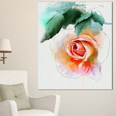 Designart Beautiful Red Rose With Leaves Floral Canvas Art Print