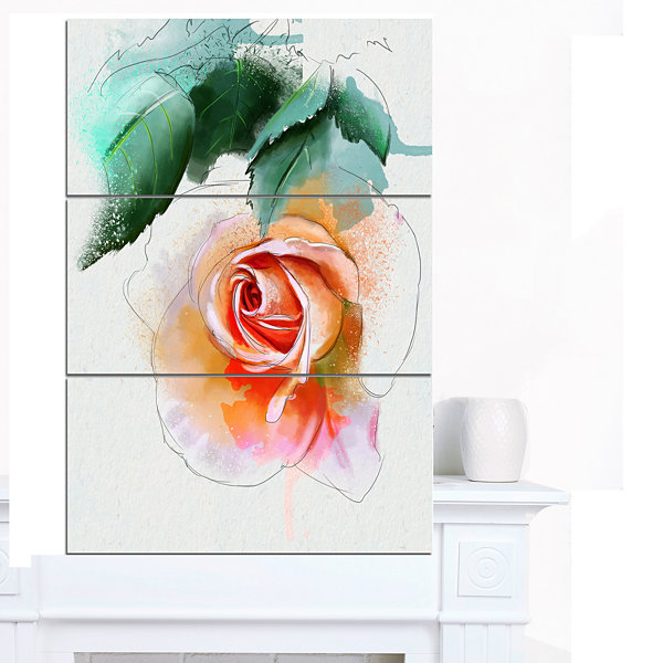 Designart Beautiful Red Rose With Leaves Floral Canvas Art Print - 3 Panels