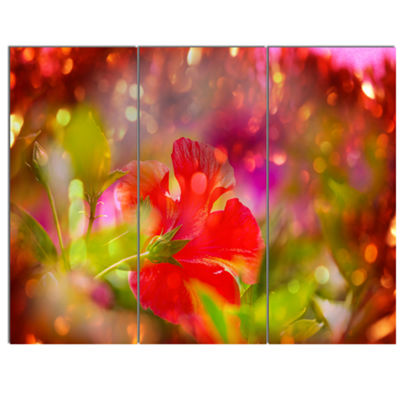 Designart Beautiful Red Rural Summer Flowers Floral Canvas Art Print - 3 Panels