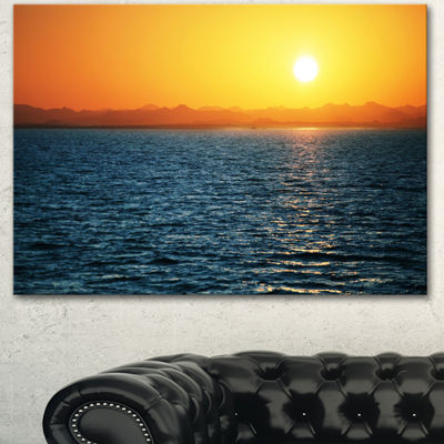 Designart Beautiful River View At Sunset Large Seashore Canvas Print