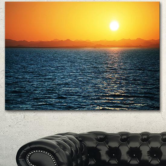 Designart Beautiful River View At Sunset Large Seashore Canvas Print