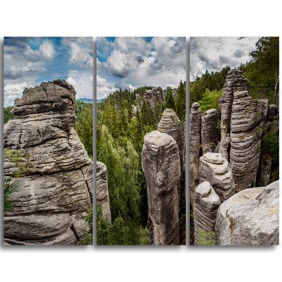 Designart Beautiful Rocks In Bohemian Paradise Landscape Triptych Canvas Art Print