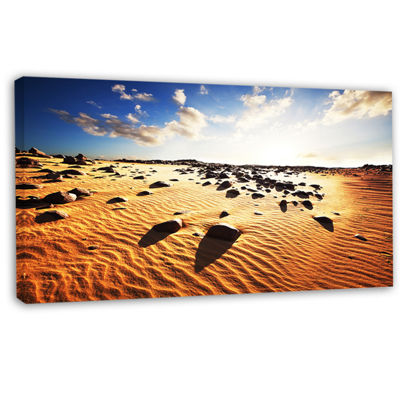 Designart Beautiful Rocky Sand Desert African Landscape Canvas Art Print