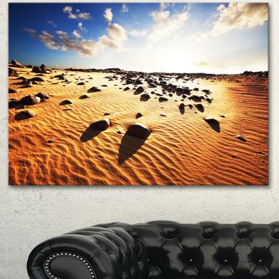 Designart Beautiful Rocky Sand Desert African Landscape Canvas Art Print - 3 Panels