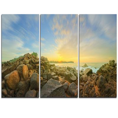 Designart Beautiful Romantic Beach Sunrise Landscape Artwork Triptych Canvas