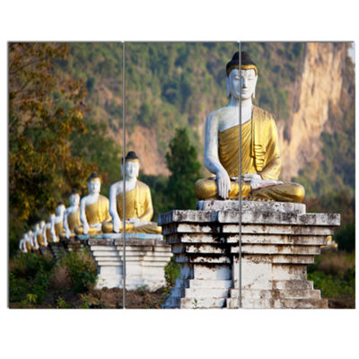 Designart Beautiful Row Of Buddha Statues Oversized Landscape Canvas Art - 3 Panels
