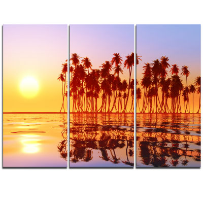 Designart Beautiful Row Of Coconut Palms On BeachExtra Large Seascape Art Triptych Canvas