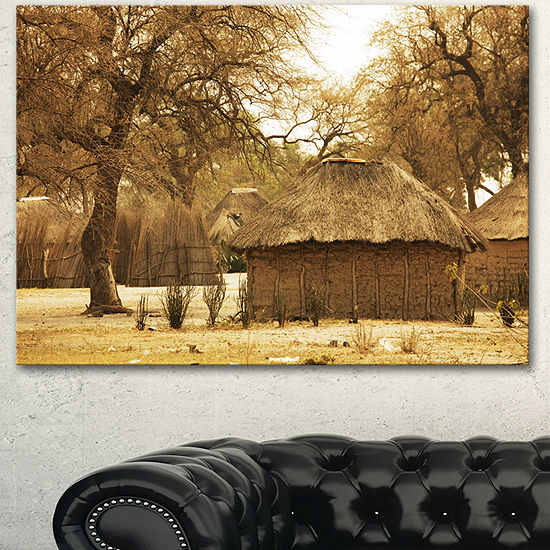 Designart Beautiful Rural African Huts Oversized Landscape Canvas Art - 3 Panels