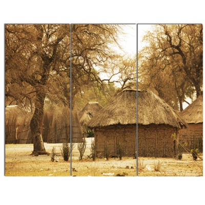 Designart Beautiful Rural African Huts Oversized Landscape Canvas Art - 3 Panels