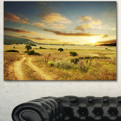 Designart Beautiful Rural Prairie Sunset African Landscape Canvas Art Print - 3 Panels