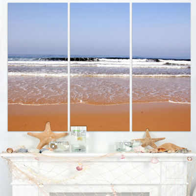 Designart Beautiful Sea And Beach Ashdod Israel Seashore Triptych Canvas Art Print