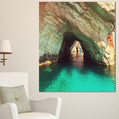 Designart Beautiful Sea Cave In Greece Landscape Canvas Art Print - 3 Panels