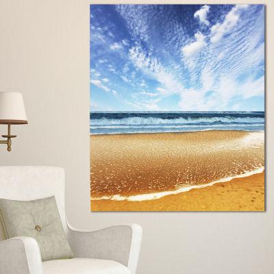 Designart Beautiful Sea Under Bright Sky SeashoreCanvas Art Print - 3 Panels