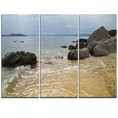 Designart Beautiful Sea View Of Rocky Coast ExtraLarge Seashore Triptych Canvas Art