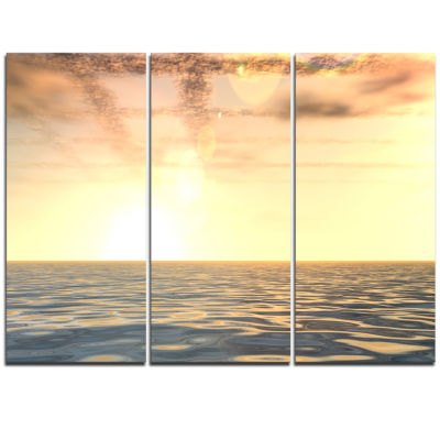 Design Art Beautiful Seascape With Clouds Over Beach Photo Triptych Canvas Print