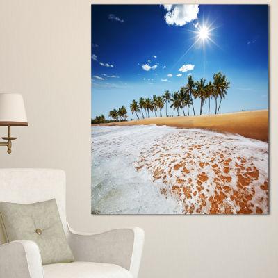 Designart Beautiful Seashore And Palm Trees Seashore Canvas Art Print - 3 Panels