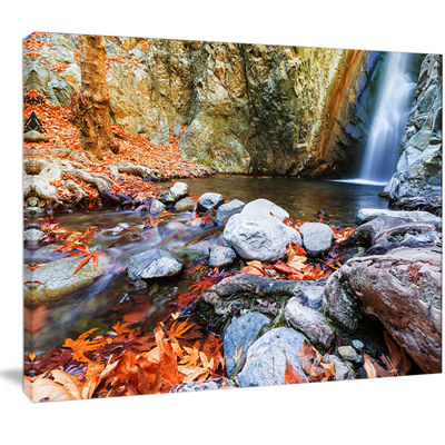 Designart Beautiful Serenity Waterfall In CyprusLandscape Wall Art On Canvas