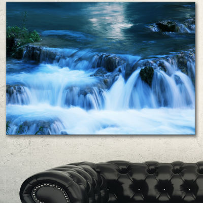Designart Beautiful Small Blue Waterfalls Landscape Wall Art On Canvas - 3 Panels