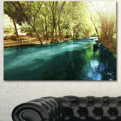 Designart Beautiful Small River In Forest Landscape Canvas Art Print