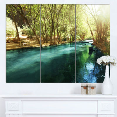 Designart Beautiful Small River In Forest Landscape Canvas Art Print - 3 Panels