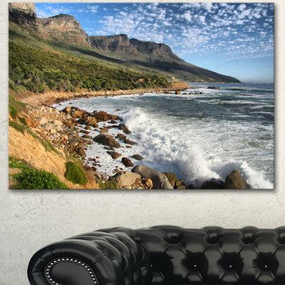 Designart Beautiful South African Seashore Large Seashore Canvas Print - 3 Panels