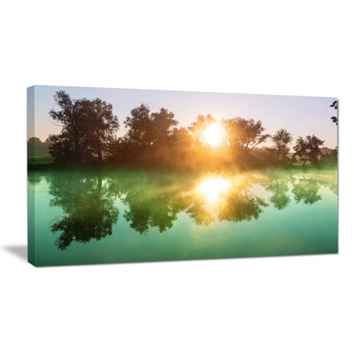 Designart Beautiful Summer River At Sunset Oversized Landscape Canvas Art