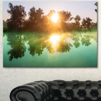 Designart Beautiful Summer River At Sunset Oversized Landscape Canvas Art - 3 Panels