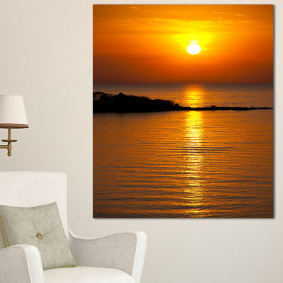 Designart Beautiful Sunrise Reflecting In River Large Seashore Canvas Print - 3 Panels