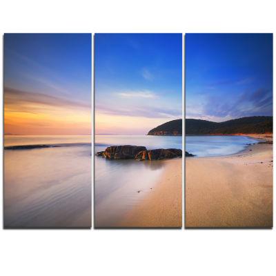 Designart Beautiful Sunset In Cala Violina Beach Extra Large Seashore Triptych Canvas Art