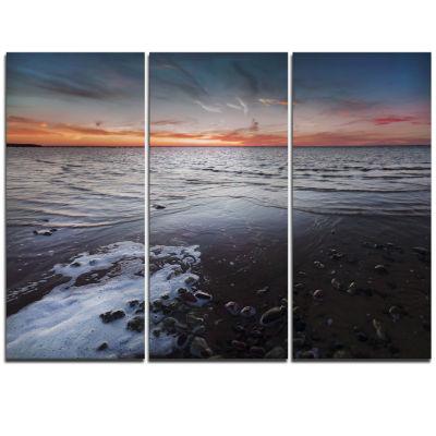 Designart Beautiful Sunset On Chudskoy Lake Seashore Triptych Canvas Art Print