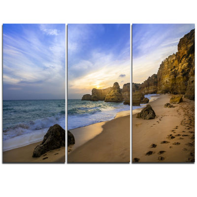 Designart Beautiful Sunset Over Algarve Portugal Extra Large Seashore Triptych Canvas Art